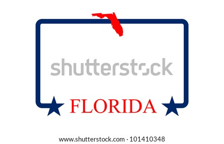 Florida state map, frame and name. - stock vector