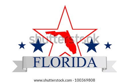 Florida state map, star and name. - stock vector