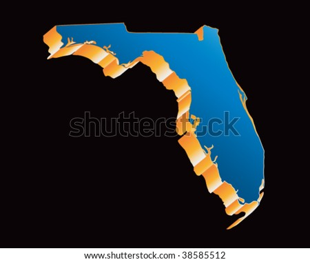 florida state shape icon in blue - stock vector