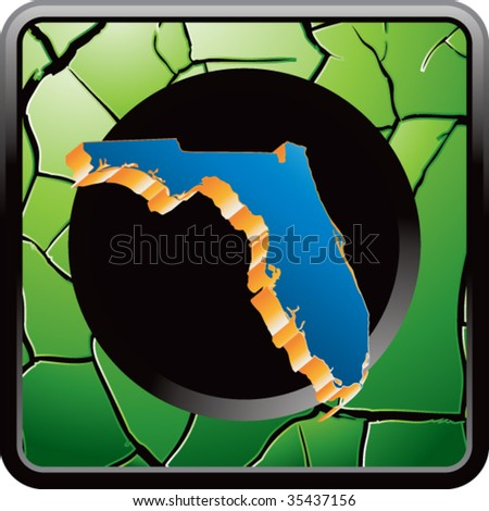 florida state shape on green cracked icon - stock vector