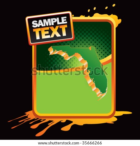 florida state shape on green halftone banner template - stock vector