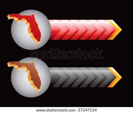 florida state shape on red and black arrows - stock vector