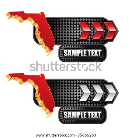 florida state shape on red and silver arrow tabs - stock vector