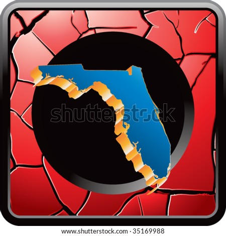 florida state shape on red cracked web icon - stock vector