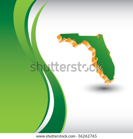 florida state shape on vertical green wave background - stock vector