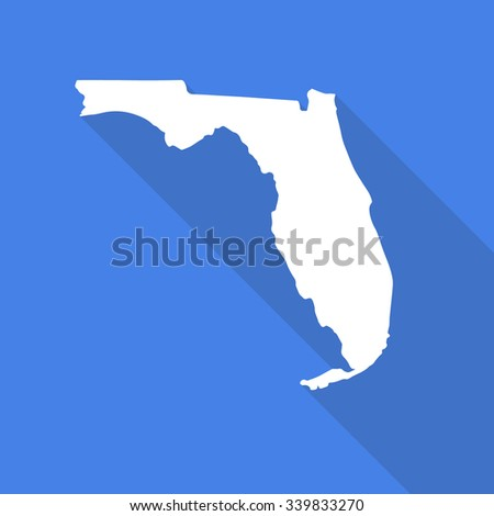Florida white map,border flat simple style with long shadow on blue background