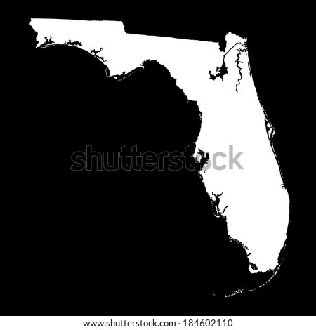 Florida white vector map isolated on black background. High detailed vector illustration. - stock vector
