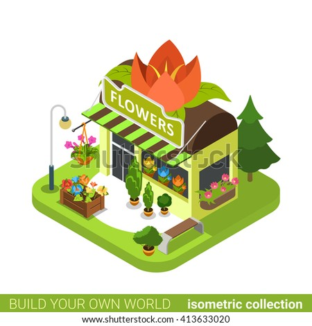 Florist Shop Flower Shape Building Realty Real Estate Concept. Flat 3d  Isometry Isometric Style Web