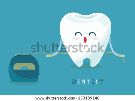 floss tooth - stock vector