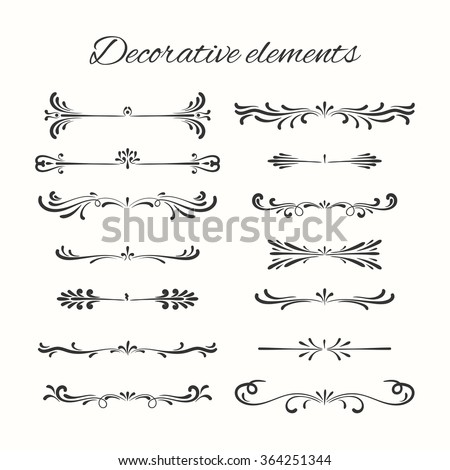 Flourish elements. Hand drawn dividers set. Ornamental decorative element. Vector ornate design.  - stock vector