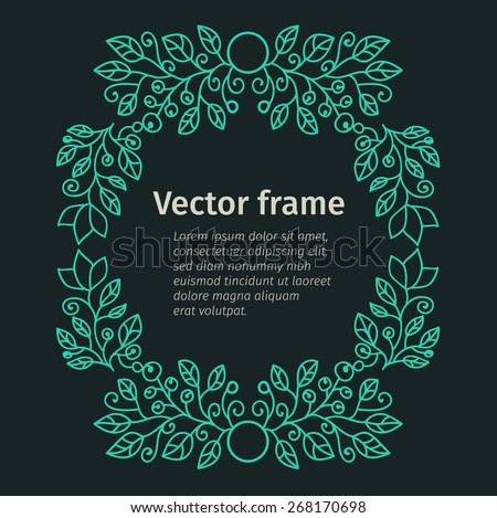 Flourish poster, vector element, frame design in flat style, Vector floral frame Simple monogram and logo design - stock vector