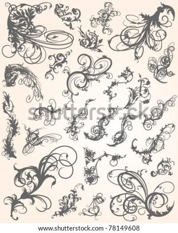 Flourish Swirl Collection - stock vector