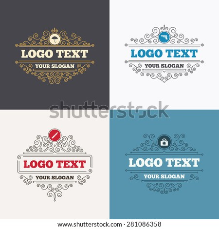 Flourishes calligraphic emblems. Gun weapon icon. Knife, umbrella and photo camera with flash signs. Edged hunting equipment. Prohibition objects. Luxury ornament lines. Vector - stock vector