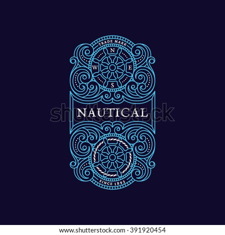 Flourishes luxury elegant ornament label template with steering wheels in trendy linear style. Vector illustration. - stock vector