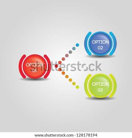 Flowchart for two options from a single starting point - stock vector