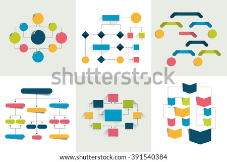 Flowcharts. Set of 6 flow charts schemes, diagrams. Simply color editable. Infographics elements. - stock vector
