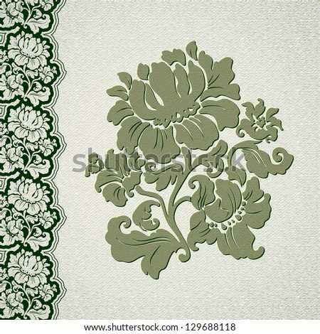 flower and border vintage lace, vector illustration 10 eps - stock vector
