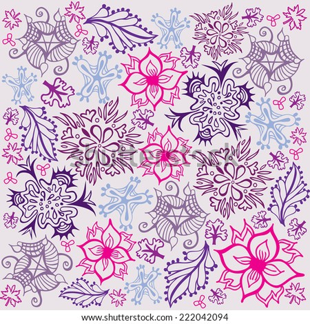 Flower and Foliage Pattern - Pink and Purple Colors - stock vector