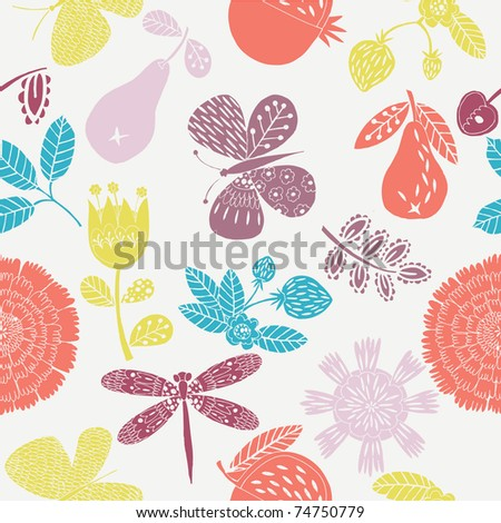 flower and fruit seamless pattern - stock vector