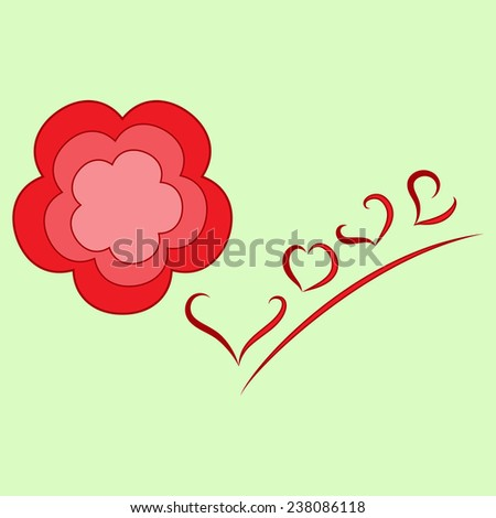 Flower and love picture - stock vector