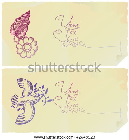 flower and peace bird letter papers - stock vector