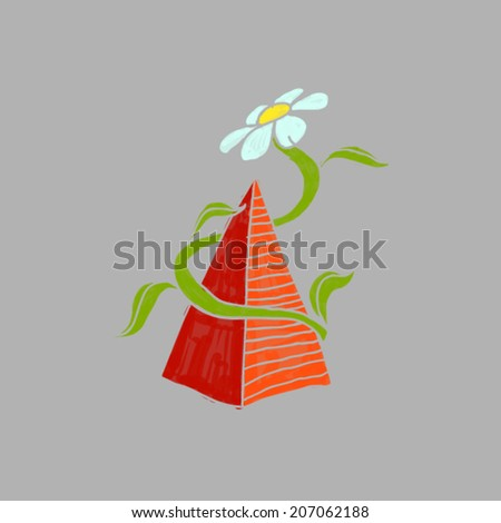 flower and pyramid - stock vector