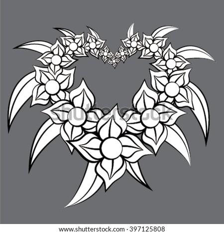Flower Art Set on isolated background - stock vector