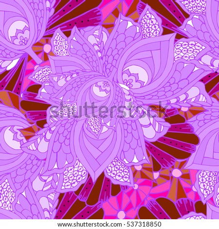 flower background decorative doodle pattern purple