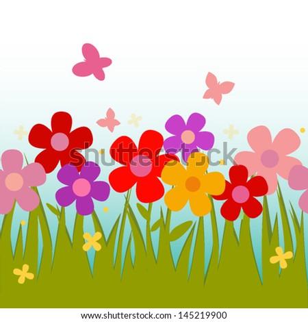 Flower background pattern. vector illustration - stock vector