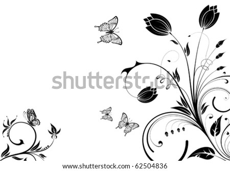 Flower background with butterfly and wave pattern, element for design, vector illustration - stock vector