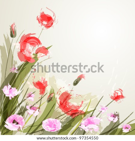 Flower background with poppies. eps 10 - stock vector