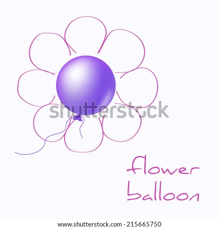 Flower balloon with hand drawn petals - stock vector