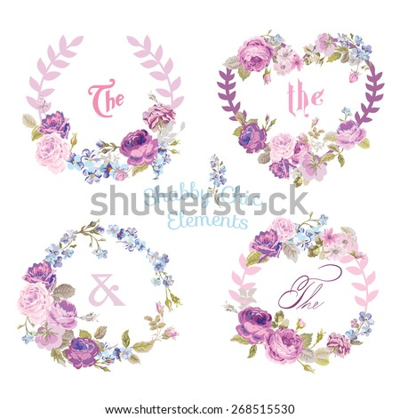 Flower Banners and Tags - for your design and scrapbook - in vector - stock vector