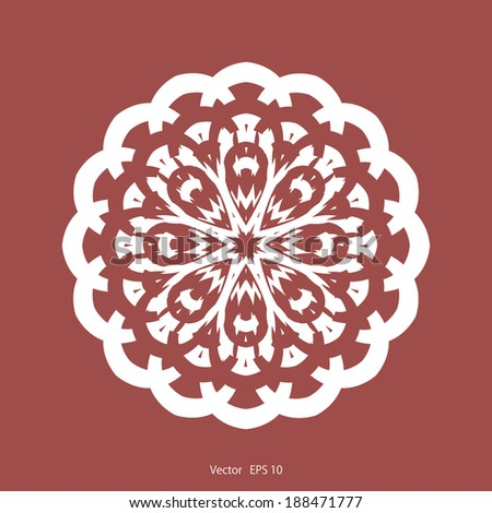 flower, beautiful, pattern, with fine detail, on a red background, white, vector