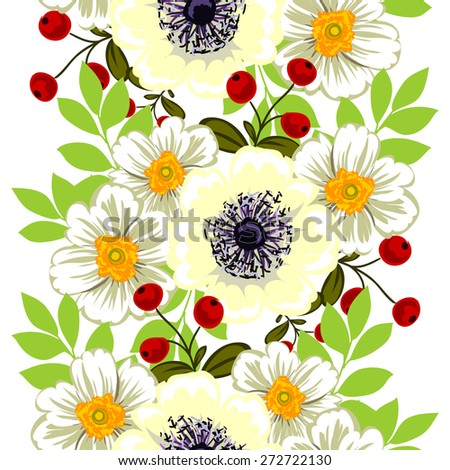 Flower blossom. Abstract elegance seamless pattern with floral elements. Flower background.