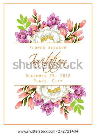 Flower blossom. Romantic botanical invitation. Greeting card with floral background. - stock vector