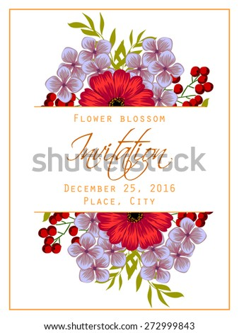 Flower blossom. Romantic botanical invitation. Greeting card with floral background.