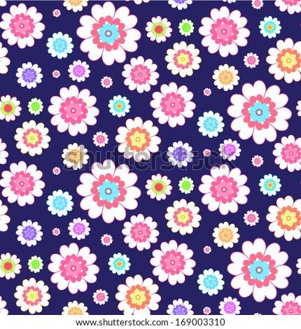 flower blue  seamless pattern - stock vector