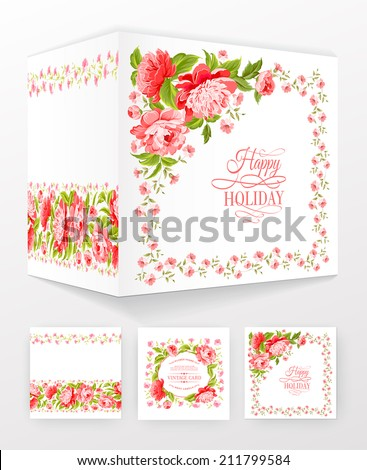 Flower brochure template for your invitation card design. Vector illustration.