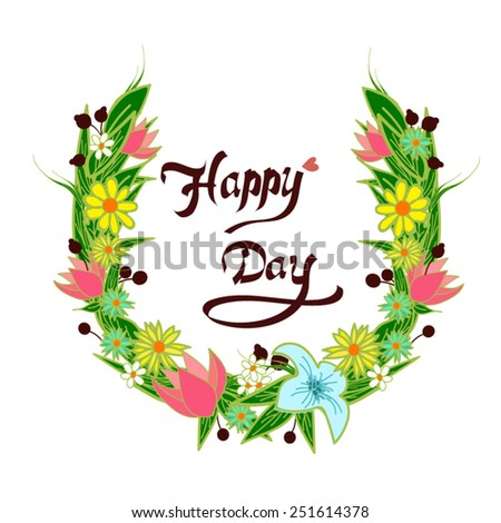 Flower bucket frame for your happy day - stock vector