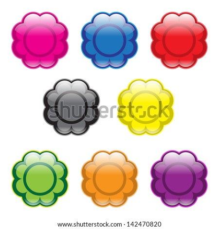Flower Buttons - stock vector