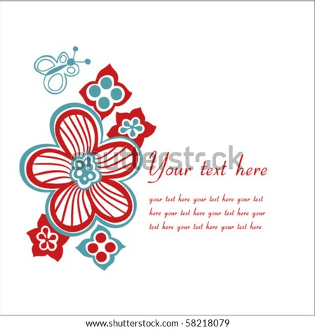 flower card with space for text - stock vector