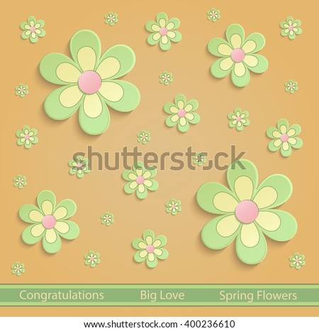 flower. color flower.flowers. greeting. card. flowers. 3D. greeting card. congratulation. congratulations. green. vector. congratulations flower. spring. summer. orange.yellow. bloom. floral. flowery. - stock vector