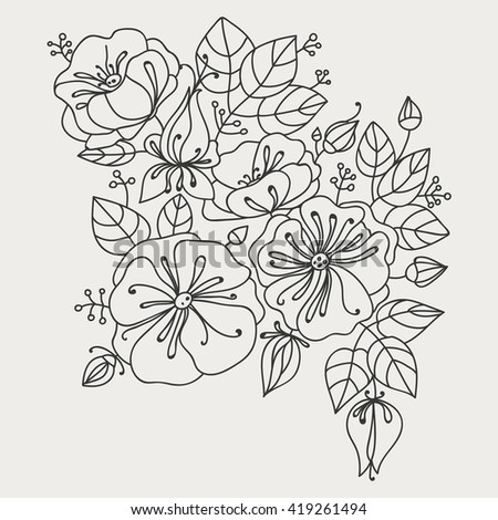 Flower composition - anemones. Contour drawing. - stock vector