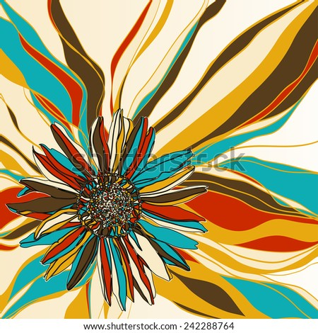 Flower composition with strips background. Vector illustration. - stock vector