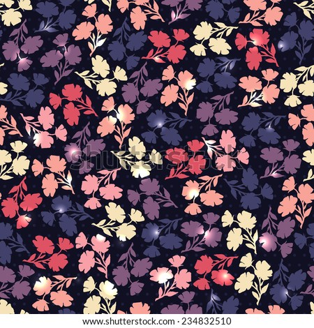 Flower contrast backdrop. Seamless pattern with contours of flowers. Vector endless background. Bright repeating wallpaper. Modern design.  - stock vector