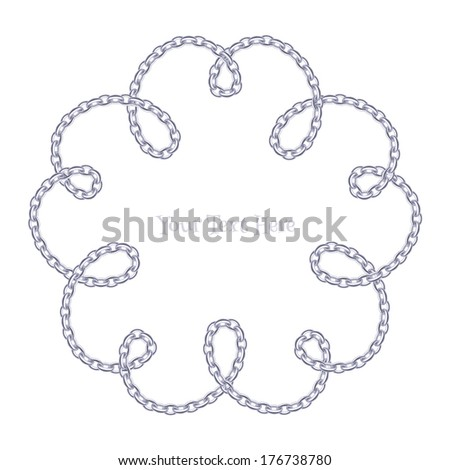 Flower curled silver chain background. Loops and curves.
