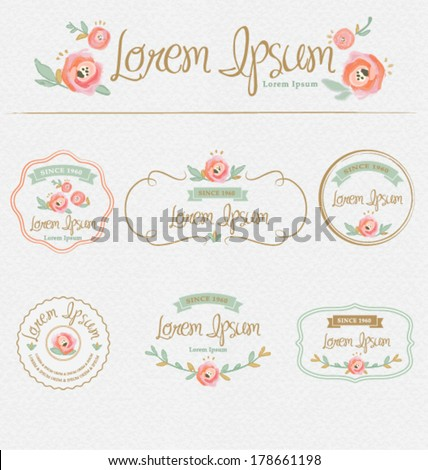 FLOWER DESIGN ELEMENTS. Frames, labels, ribbons, symbols. Brand & identity elements such as logo. - stock vector