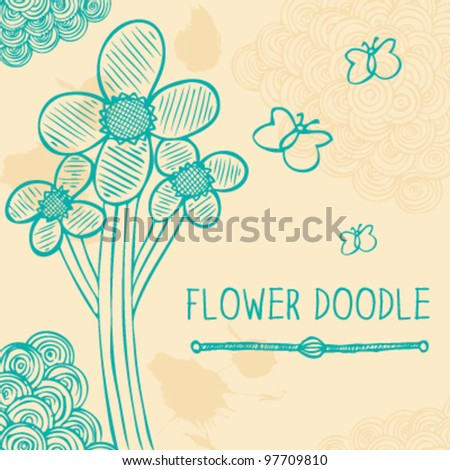 Flower doodle card - stock vector