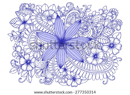 Flower doodle drawing. - stock vector